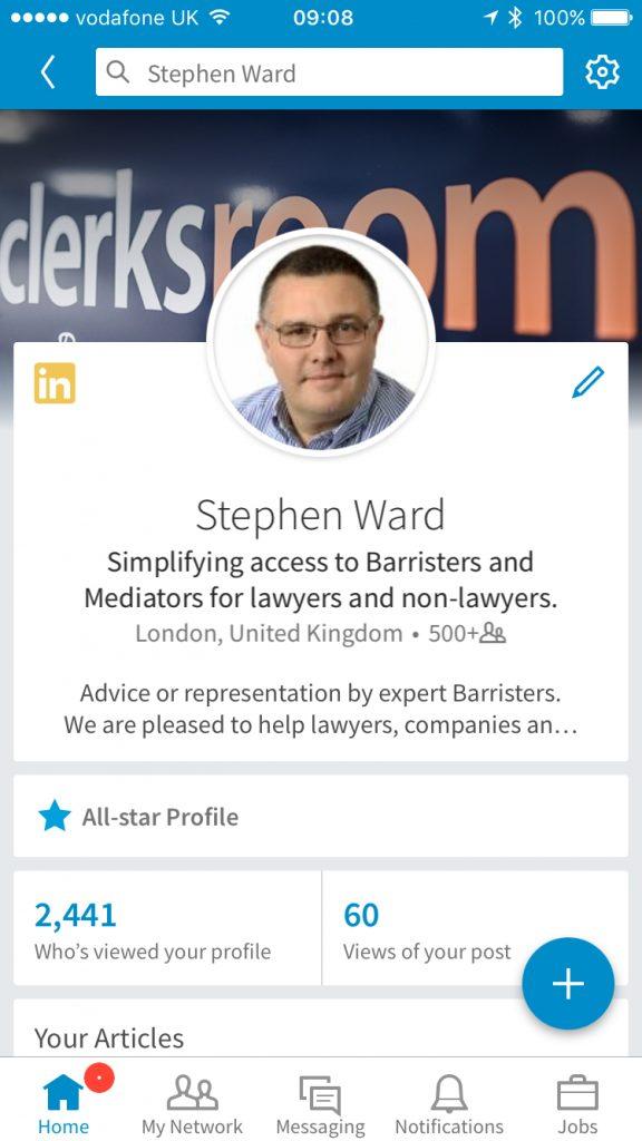 Stephen Ward Clerksroom LinkedIn Profile on mobile
